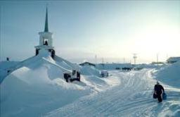 church buried in snow